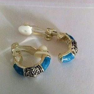 Alexandra Clip-On Earrings Turquoise & Silver Tone